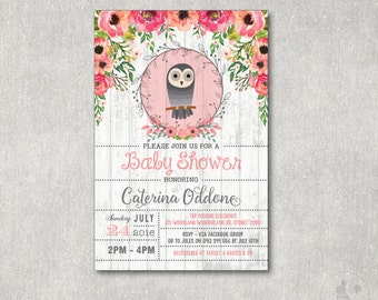 OWL Baby Shower Invitation. Vintage Flower Baby Shower DIGITAL Invite. Floral Woodland shower Invitation. Baby Owl. Watercolor Flowers. OWL1