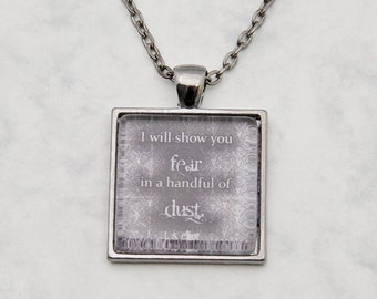 """T. S. Eliot """"I will show you fear..."""" Poem Waste Necklace Pendant quote Glascabochon handmade fashion jewelry gunmetal black grunge vintage"""