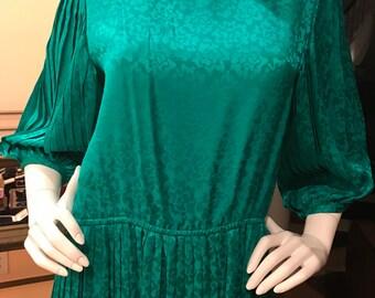 All silk emerald green jewel toned jacquard silk pleated dress