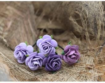 Mini Purple Roses Hairpin,Set of 5 Mulberry Paper Flower Hair Pins , Bridal Hair Pins, Hair Bobby Pins,Prom,Bridal Hair Accessories (FL195)