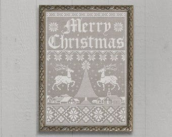 INSTANT DOWNLOAD Christmas Town Sampler PDF counted cross stitch patterns by Modern Folk at thecottageneedle.com monochromatic Winter
