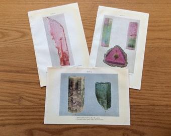 1934 MINERAL and CRYSTALS prints original vintage gem lithographs - spodumene kunzite -  beryl & emerald   tourmaline - set of three prints