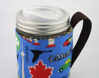 ReFluff, eco friendly, mason jar cozy, mason jar sleeve, hand made, Canada eh, Canadian,train, cuppow, starbucks, B.C., Beaver, Maple Leaf,