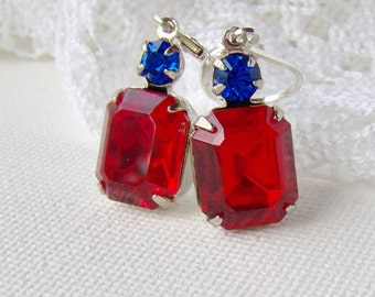 Ruby rhinestone leverback earrings / Mothers day / gift for her / July birthstone / red and blue / Swarovski / patriotic / unique gift