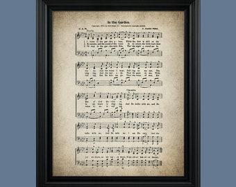 In The Garden Hymn Print - Sheet Music Art - Hymn Art - Hymnal Sheet - Home Decor - Music Sheet - Print - #HYMN-P-020