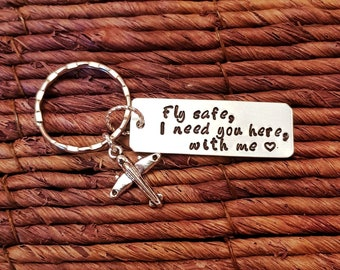 Personalized Keychain, Fly Safe, Pilot Gift, Flight Attendant Gift, Travel, Airplane, Aviation, Engraved Keychain, Husband Gift, Boyfriend