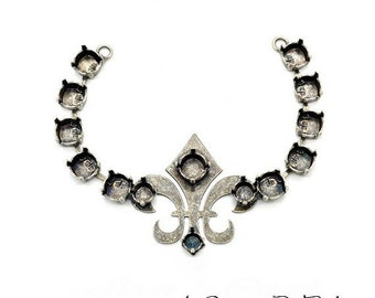 Base pour collier, Fleur de Lis, argent antique 14x3,7 cm à sertir