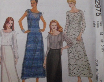 SALE - McCall's 2975 - Misses/Misses Petite Dress, Overdress and Top Sewing Pattern - McCall's 2975 - sizes 8-10-12, Bust 31 1/2 - 34, Uncut
