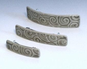 Medium Size Barrette, Gray Barrette, Ceramic Barrette, Porcelain Barrette, French Barrette, Gray Ceramic Hair Clip, Swirl Pattern