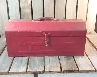 Red Tool Box, Vintage Tool Box, Old Tool Box, Metal Tool Box, Vintage Box, Red Box, Red Metal, Metal Planter, Flower Planter, Old Box