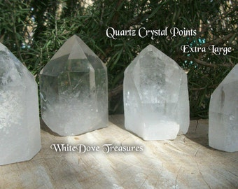 "Crystal Quartz Towers ~ Brazil Crystal Point ~ XLg 3.75"" 303-474 grams ~ Manifest Spirit Crystal ~ Initiation Integration Crystal"