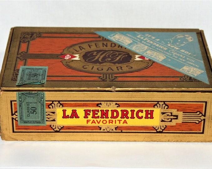 Vintage 1950 LA FENDRICH Cigar Box, with Baby Boy Announcement