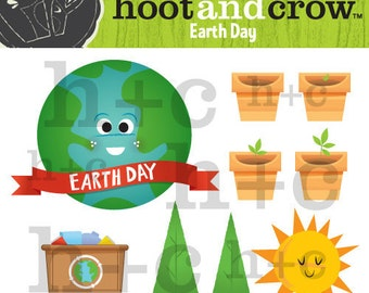 Earth day - cute earth day  plants and trees clip art