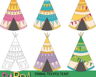 Tribal teepee tent clipart - camping clipart - commercial use clip art graphics - pastel colors - instant download