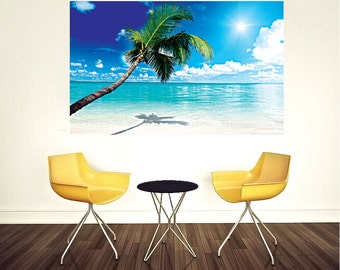 Beach Wall Decal Palm Tree Wall Murals Beach Bedroom Wall Mural White Sand Beach  Wall Design
