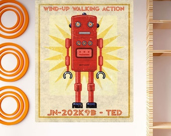 Robot Ted Wind Up Toy Lunastrella Wall Decal - #64326