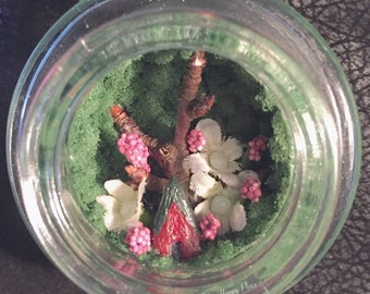 Spring Blossom 5 Fairy Garden Magnet Repurposed Candle Lid