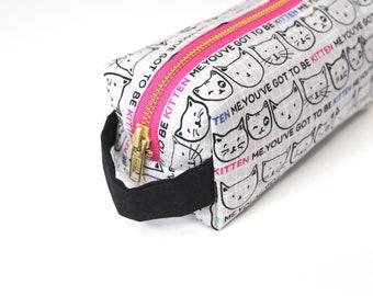 You've Got to Be Kitten Me Small Boxy Bag with Metal Zipper - Makeup Bag / Pencil Bag/Toiletry Bag