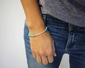 Sterling silver ball bracelet, silver layering bracelet ,Silver bracelet,Sterling silver, Mom Bracelet ,Turquoise Bracelet, Silver bracelets