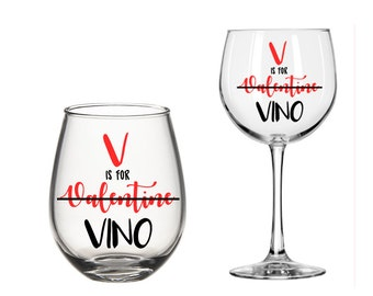 V is for Valentine Vino Wine Glass Gift