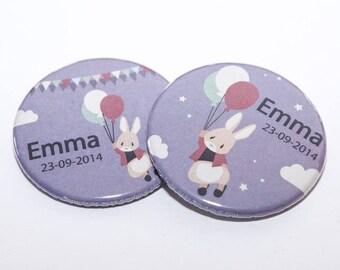 "Set of 20 badges rabbit ""Emma"" little girl"