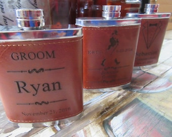 Set of 1, Personalized Groomsmen Gift Flask Set with 3 Shot Glasses, Rustic Wedding Party Favor