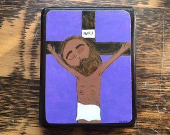 "2.5"" X 3.5"" Jesus dies on the Cross Crucifix Byzantine Folk style icon on wood by DL Sayles"