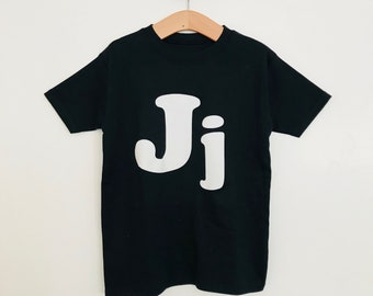 Monchrome flocked personalised letter initial tshirt