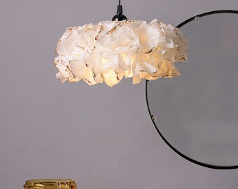 White & Gold Pendant Lamp, Hanging Lamp, Paper Lamp, Ceiling Light, Special Gifts