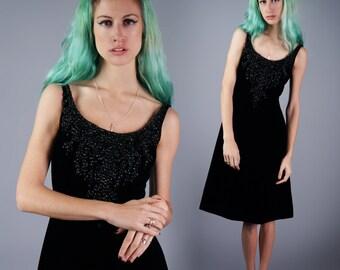 Vintage 50s Velvet Beaded Dress Velvet Black Cocktail Dress Vintage Little Black Dress Size Small