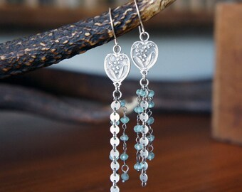 Art Nouveau Antique Silver Earrings with Apatite Gemstone Tassel