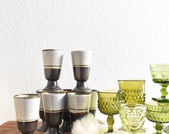 set of 8 brown stoneware speckled striped mug goblets / gift coffee lover