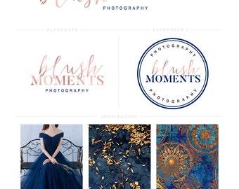 Rose Gold Logo Design - Navy Blue Logo - Photography Logo - Blog Branding - Feminine Logo - Elegant Logo