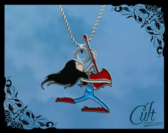 Adventure Time sterling silver / faux leather necklace with Marceline Marcy charm