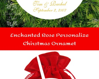 Enchanted Rose Personalized Beauty And The Beast Wedding Ornament | First Christmas Ornaments | Newlywed Ornament | Lovebirdslane