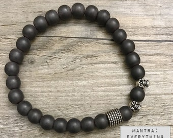 Bracelet | Yoga Beaded Charm Mala ॐ FOCUS: Matte Black Hematite | Skulls | Energy Healing Karma Love | OOAK Luxury Jewelry | Men Women
