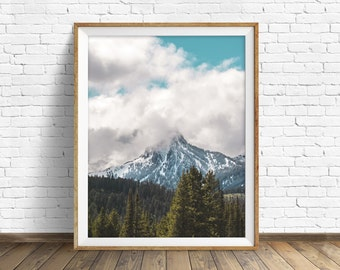 """landscape photography, clouds, mountains, snow, wilderness, large art, large wall art, instant download printable art - """"Ross Peak Storm"""""""