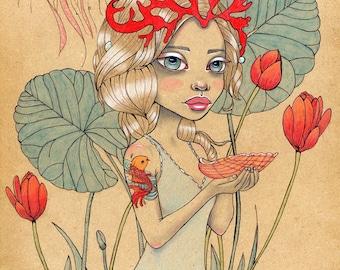 Queen of Cups Original Art 9x12 Mythical Tarot Vellamo Goddess Ink and Watercolor