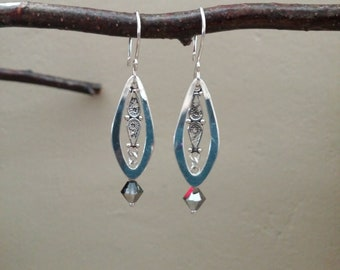 Sterling Crystal Earrings, Polished Sterling Tear Drop Frame, Oxidized Sterling Filigree, Swarovski Crystal Silver Night, Everyday style