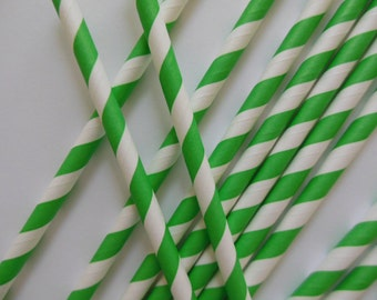 Green and White Striped Party Straws - Birthday Parties - Baby Showers - Set of 12