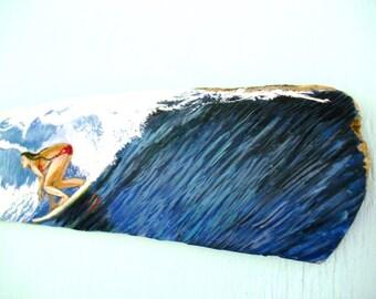 Girl Surfer On Big wave gifts For  surfer girl - surfer office art