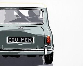 Mini Cooper back view.