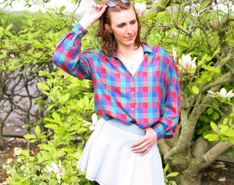 Vintage 80's Checked Blouse - Size 16
