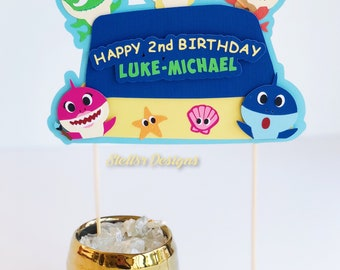 Custom Baby Sharks CAKE TOPPERS and CUPCAKE Toppers | Custom Dessert Toppers | Sharks