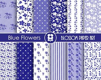 Blue Digital Paper Blue Flowers, Scrapbooking Paper Pack, Blue Floral Papers - INSTANT DOWNLOAD - 1770