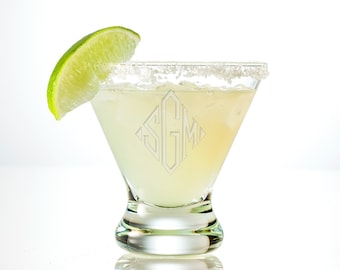 Monogram Margarita Glass Personalized Margarita Glass | Custom Martini Glasses | Engraved Cocktail Glass | Wedding Gifts, Bridesmaid Gifts