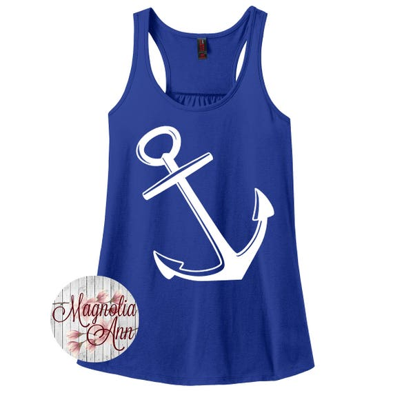 Anchor, Nautical, Summer, Beach, Boat, Women's Racerback Tank Top in 9 Colors in Sizes Small-4X, Plus Size