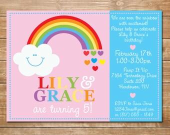 Printable Rainbow Birthday Invitations ~ Twins birthday invitation twin ballerina s birthday