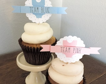 Gender Reveal Baby Shower Cupcake Toppers