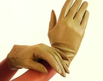 Green leather gloves - Olive green -